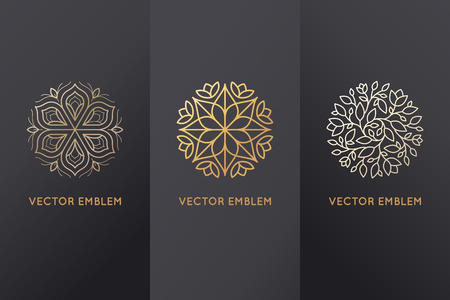 Vector set of design elements, labels and frames for packaging for luxury products in trendy linear style - simple and bright background made with golden foil on black background with copy space for text or logo