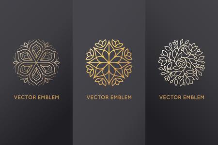 Vectorreeks ontwerpelementen, etiketten en kaders voor verpakking voor luxeproducten in trendy lineaire stijl - eenvoudige en heldere achtergrond die met gouden folie op zwarte achtergrond met exemplaarruimte voor tekst of embleem wordt gemaakt