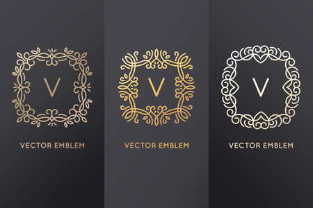 foil: Vector set of design elements, labels and frames for packaging for luxury products in trendy linear style - simple and bright background made with golden foil on black background with copy space for text or logo
