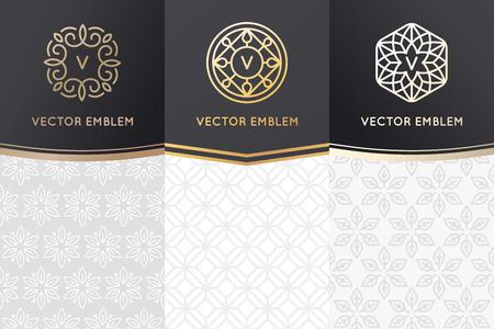 Vector set ontwerpelementen, etiketten en frames voor verpakking voor luxe producten in trendy lineaire stijl - eenvoudige en lichte achtergrond gemaakt met gouden folie op zwarte achtergrond met kopie ruimte voor tekst Stock Illustratie