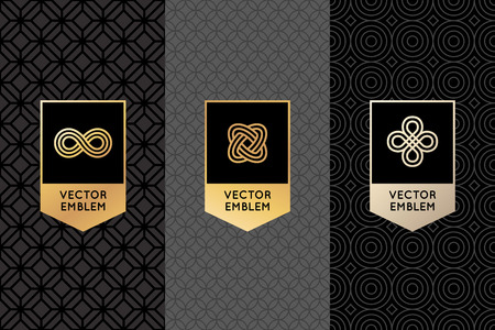 Vector set of design elements, labels and frames for packaging for luxury products in trendy linear style - simple and bright background made with golden foil on black background with copy space for text Ilustracja