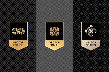 Vectorreeks ontwerpelementen, etiketten en kaders voor verpakking voor luxeproducten in trendy lineaire stijl - eenvoudige en heldere die achtergrond met gouden folie op zwarte achtergrond met exemplaarruimte wordt gemaakt voor tekst
