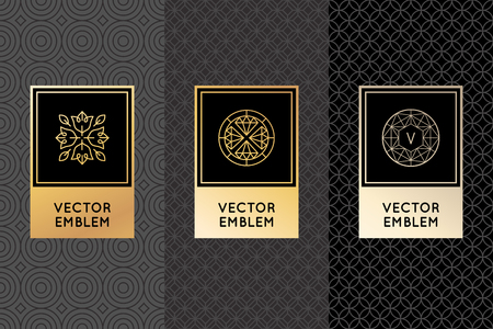 leaf: Vector set of design elements, labels and frames for packaging for luxury products in trendy linear style - simple and bright background made with golden foil on black background with copy space for text Illustration