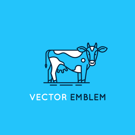 logo vector: Vector logo design template in trendy linear style - emblem with cow - illustration for milk and dairy industry and packaging - organic, natural and fresh food from farm