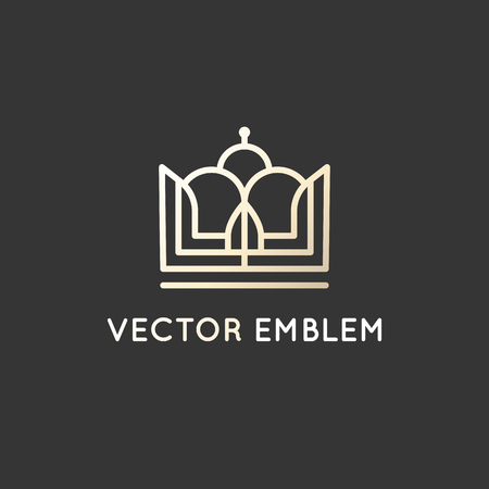 king s: Vector logo design template in trendy linear style - crown emblem in golden colors on black background