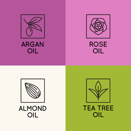 Vector set of packaging design templates and emblems in linear style - beauty and cosmetics oils - argan, rose, almond and tea tree Çizim