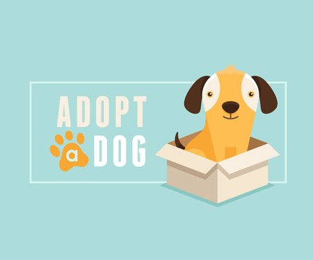 Vector illustration in  flat style - adopt a dog banner design - smiling cartoon puppy in a box Ilustracja