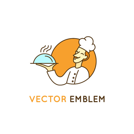 simple: design template in trendy linear style - restaurant chef - cooking emblem with man character and mascot - cooking and catering concept Illustration