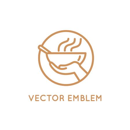 Vector ontwerp sjabloon - voedsel delen - voedsel geven aan armen en vluchtelingen - embleem voor liefdadigheid en vrijwilligersorganisaties die mensen voeden Stock Illustratie