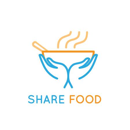 ベクトルのデザインのテンプレート - 食品の共有 - 慈善団体やボランティア組織人々 を供給のエンブレムの貧しい人々 や難民 - 食べ物を与える