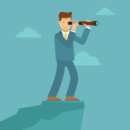 business trends: Vector illustration in flat style with business man character - guy looking through telescope for future trends and business perspective and development - infographics design element and concept