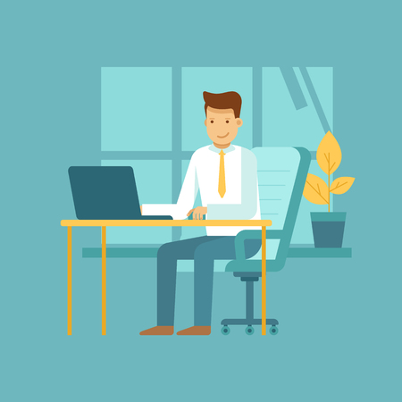 office desk: Vector illustration in flat style with business man character - guy sitting at the desk with laptop - start up, freelance and outsource work concept - infographics design element and concept