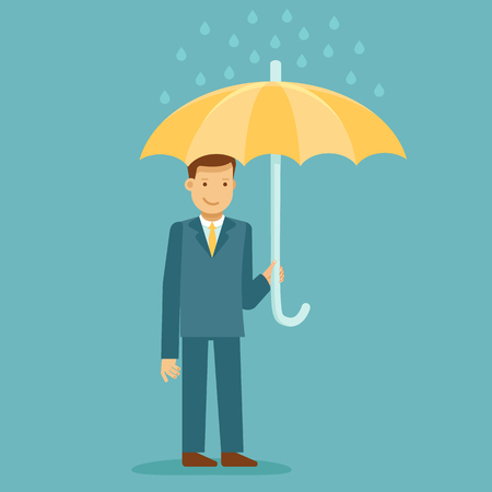guy standing: Vector illustration in flat style with business man character - guy standing and holding umbrella - business insurance concept - infographics design element and concept