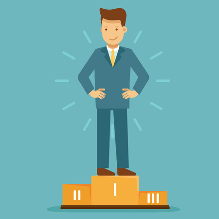 Vector illustration in flat style with business man character - guy standing on the first place - business competition winning concept - infographics design element and concept Ilustrace