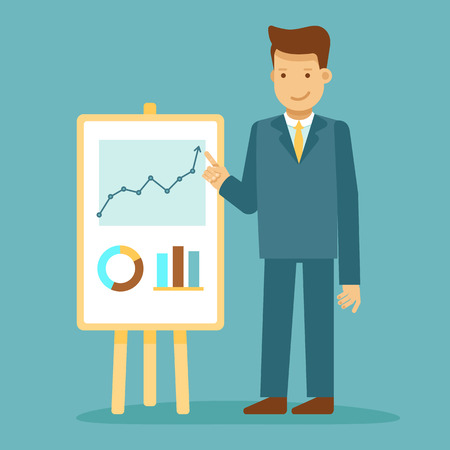 Vector illustration in flat style with business man character - guy making business presentation - conference and public speaking concept - infographics design element and concept Illustration