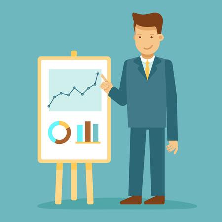 Vector l'illustrazione nello stile piano con il carattere dell'uomo di affari - tirante che fa la presentazione di affari - concetto di parlare pubblico e di conferenza - elemento e concetto di progettazione di infographics