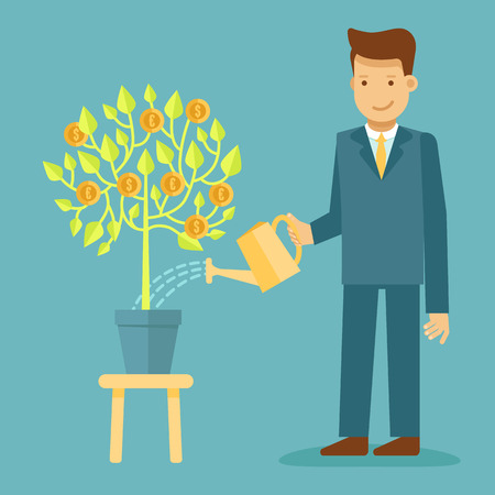 Vector illustration in flat style with business man character - guy watering green tree with coins - business development and investment concept - infographics design element