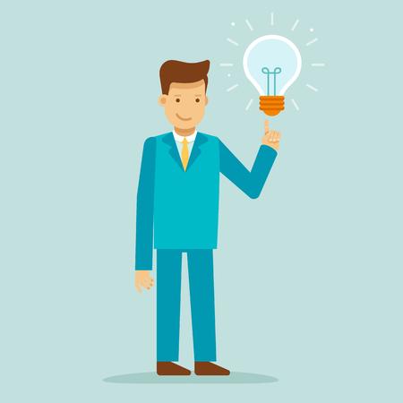 Vectorillustratie in vlakke stijl met bedrijfsmensenkarakter - kerel die een nieuw idee hebben - creatief het werkconcept - het element van het infographicsontwerp
