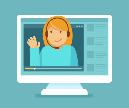 book: Vector illustration in trendy flat style - online education concept - video player with a female teacher with headphones on the screen of the computer Illustration