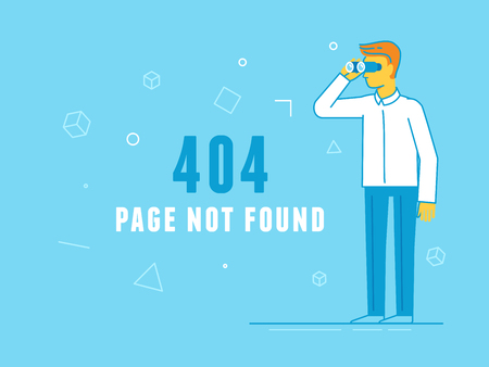 icons site search: Vector  illustration in trendy line flat style - 404 page design template and web site under construction or maintenance -page not found message - guy looking through binoculars