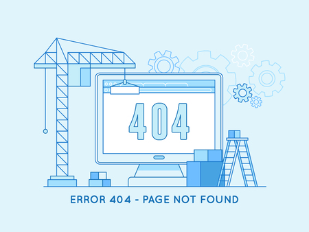 page site: Vector  illustration in trendy line flat style - 404 page design template and web site under construction or maintenance -page not found message and banner