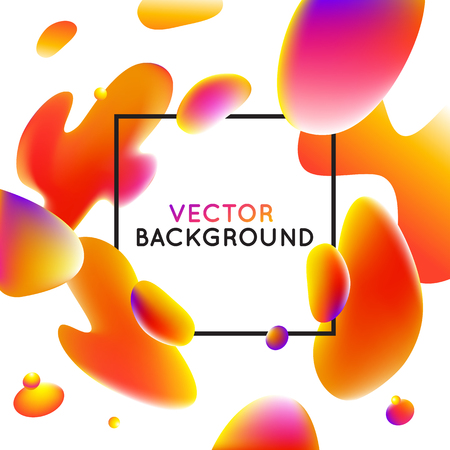 wave: Vector design template and illustration in trendy bright gradient colors with abstract fluid shapes, paint splashes, ink drops  and copy space for text - banner, cover and background in orange colors