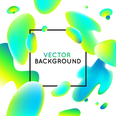 Vector design template and illustration in trendy bright gradient colors with abstract fluid shapes, paint splashes, ink drops and copy space for text - banner, cover and background in ultra bright green and blue colors