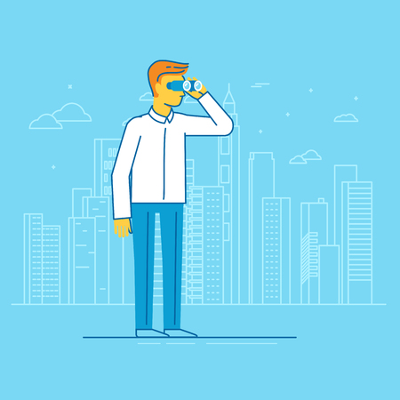 view: Vector businessman looking for future trends through binoculars - business and strategy metaphor - illustration in flat style Illustration