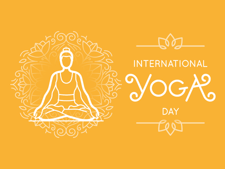 Vector  illustration in trendy flat style - international yoga day banner or poster with hand-lettering and woman in lotus pose
