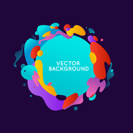 cover: Vector design template and illustration in trendy bright gradient colors with abstract fluid shapes, paint splashes, ink drops  and copy space for text - banner, cover and background Illustration