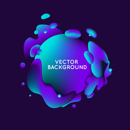 Vector design template and illustration in trendy bright gradient colors with abstract fluid shapes, paint splashes, ink drops  and copy space for text - banner, cover and background Ilustração