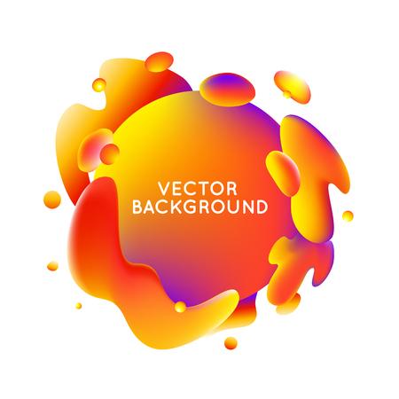 Modèle de conception vectorielle et illustration dans les couleurs brillantes à la mode, avec des formes fluides abstraites, des éclaboussures de peinture, des gouttes d'encre et un espace de copie pour le texte - bannière, couverture et fond en couleurs orange, rouge et violet