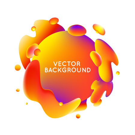 copy text: Vector design template and illustration in trendy bright gradient colors with abstract fluid shapes, paint splashes, ink drops  and copy space for text - banner, cover and background in orange, red and purple colors Illustration