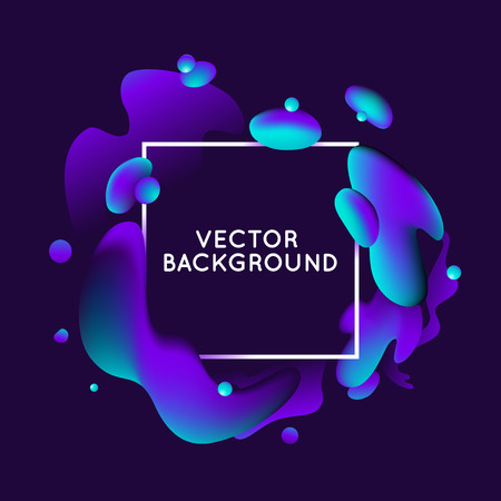 paint splash: Vector design template and illustration in trendy bright gradient colors with abstract fluid shapes, paint splashes, ink drops  and copy space for text - banner, cover and background in dark blue and purple colors