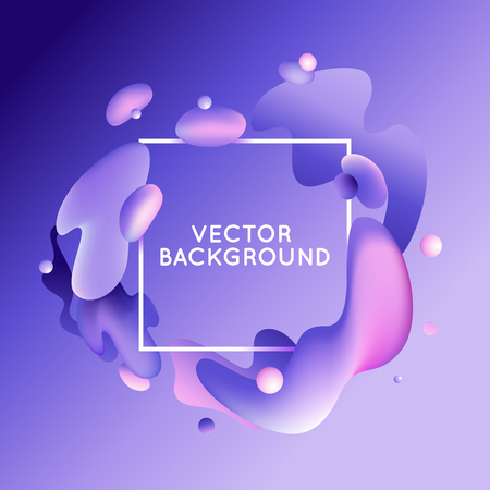billowy: Vector design template and illustration in trendy bright gradient colors with abstract fluid shapes, paint splashes, ink drops  and square frame with copy space for text - banner, cover and background in purple and pink colors