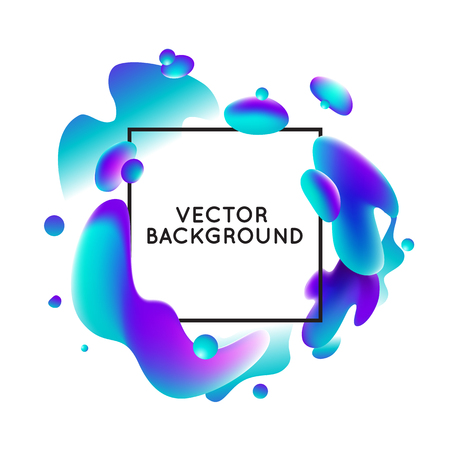 abstract waves: Vector design template and illustration in trendy bright gradient colors with abstract fluid shapes, paint splashes, ink drops  and copy space for text - banner and cover on white background Illustration