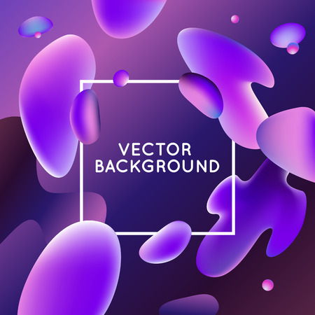 wave: Vector design template and illustration in trendy bright gradient colors with abstract fluid shapes, paint splashes, ink drops  and copy space for text - banner, cover and background in purple colors