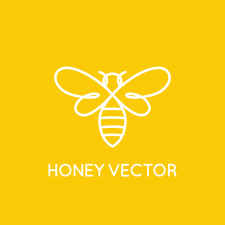 Vector logo design template in trendy minimal linear style - honey bee concept - emblem for food packaging Vectores