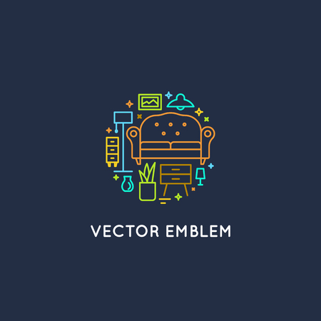 interior design home: Vector logo design template in trendy linear style - interior design concept - furniture and home decoration items and icons.