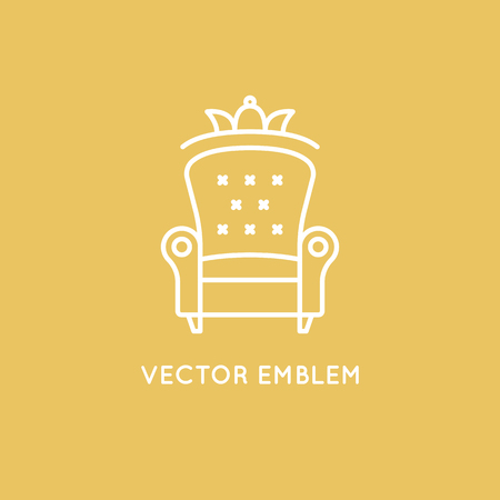 interior design home: Vector logo design template in trendy minimal linear style - interior design concept - furniture and home decoration items and icons.