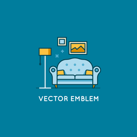 modern house: Vector logo design template in trendy minimal linear style - interior design concept - furniture and home decoration items and icons.