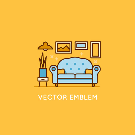 comfort room: Vector logo design template in trendy minimal linear style - interior design concept - furniture and home decoration items and icons.