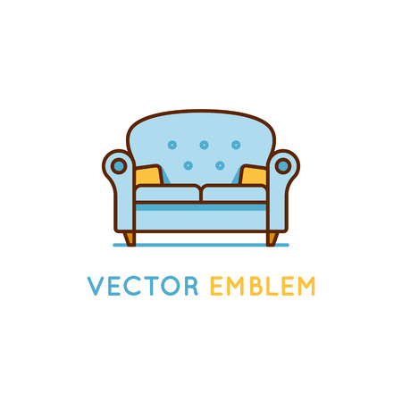 project: Vector logo design template in trendy minimal linear style - interior design concept - furniture and home decoration items and icons