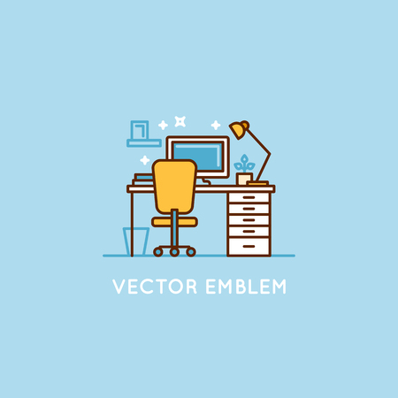 furniture design: Vector logo design template in trendy minimal linear style - interior design concept - furniture and home decoration items and icons for workspace