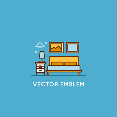 interior design home: Vector logo design template in trendy minimal linear style - interior design concept - furniture and home decoration items and icons for bedroom