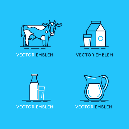 logo vector: Vector set of icons, illustrations and logo design elements in trendy linear style and blue and white colors - milk and dairy products - emblems for food and drink packaging Illustration