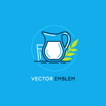 green lines: Vector set of icon, illustration and logo design element in trendy linear style and blue and white colors - milk and dairy product - emblem for food and drink packaging Illustration