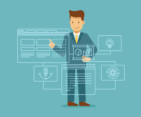Vector illustration in flat and linear style - web development concept - man building program and app on the touch screen