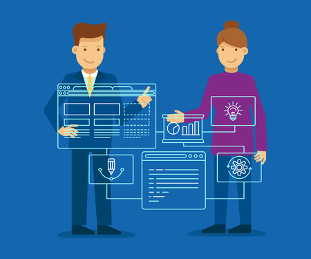 idea: Vector illustration in flat and linear style - web development concept - man and woman building program and app on the touch screen - business start up presentation and demonstration