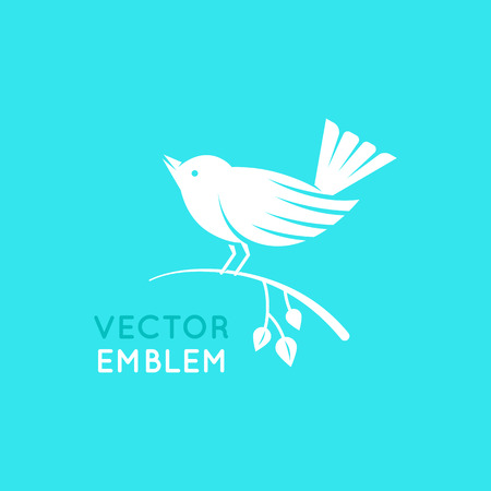 Vector   design template in minimal flat style - singing bird sitting on a branch - natural emblem for beauty product